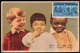 POLAND (1952) International Children's Day. Maximum Card With First Day Cancel. Scott No B74. - Cartoline Maximum