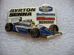 Pin's à 2 Attaches, AYRTON SENNA Sur Williams RENAULT Sponsorisé Par Rothmans Racing Et ELF - F1