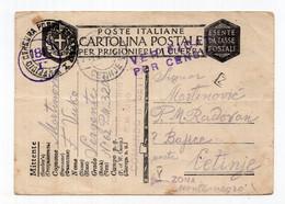 1941 WWII ITALY TO CETINJE,ITALIAN OCCUPATION OF MONTENEGRO,POW,MILITARY CENSOR NO 181,STATIONARY CARD,USED - Interi Postali