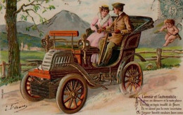 Illustrée Gaufrée Dorée : Couple Assis Dans Une Voiture Très Ancienne . - Couples