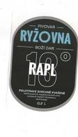 Czech Republic Minibrewery RYZOVNA Near Small City Bozi Dar - Mild Beer RAPL, Self-adhesive Label 0,7 L - Birra