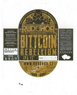 Czech Republic Minibrewery RUDOHOR From City Ostrov, IPA BITTCOIN REBELLIUM,  Self-adhesive - Birra