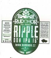 Czech Republic Minibrewery RUDOHOR From City Ostrov, RIPPLE IPA ,  Self-adhesive - Birra
