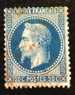 France Napoléon III Lauré 20c Bleu No29 Cachet à Date Rouge - 1863-1870 Napoleon III With Laurels