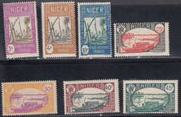 Niger, Scott #31-32, 34, 38, 40, 43, 45, Mint Hinged, Drawing Water From Well, Boat On Niger River, Issued 1926 - Unused Stamps