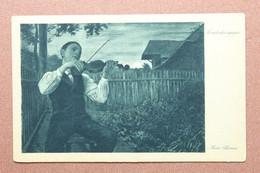 Vintage Postcard STAUFEN Stamp 1921 By Hans Thoma. Music. Mondscheingeiger. Guy Violinist Playing Violin At Sunrise. - Music And Musicians