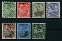 Ascension 1922 KGV St. Helena Ovptd. Set Less The 3/- Value, MH * Orig. Gum, SG 1-7, 9, Cat. £185, Uncommon - Ascension