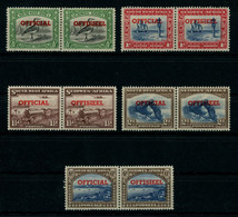 South West Africa 1951-52 Official Stamps Cpl. Set In Pairs MNH ** Full Orig. Gum, Perfect Quality, SG O23-O27, Cat. £55 - Zuidwest-Afrika (1923-1990)