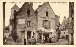 41. CPA - SAINT AIGNAN - Rue De La Raquette Et Rue Du Four -  Martineau Maréchal - Tondage Mécanique - - Saint Aignan
