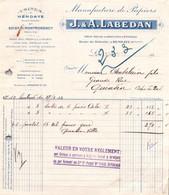 Facture - HENDAYE / SOISY S/s MONTMORENCY - Manufacture De PAPIERS ... - Ets J&A LABEDAN ... 1932 - Imprimerie & Papeterie