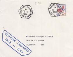 25312# LETTRE DERNIERE CROISIERE 1963 - 1964 Obl CROISEUR ECOLE JEANNE D' ARC 26 MARS 1964 BACCARAT MEURTHE - Naval Post