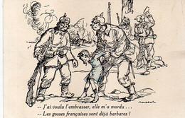 POULBOT -  J' Ai Voulu L' Embrasser, Elle M' A Mordu.. Les Gosses Françaises Sont Déjà Des Barbares !      (7877 ASO) - Poulbot, F.