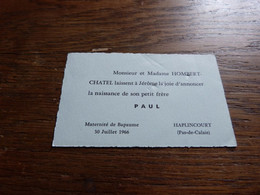 Souvenir Baptême Paul Hombert Haplincourt 1966 - Birth & Baptism