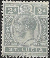 ST LUCIA 1912 King George V - 2d - Grey MH - Ste Lucie (...-1978)