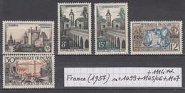 France(1957) Château D'Uzès N°1099+ Le Quesnoy N° 1105/06+ Cour Des Comptes N° 1107+ Travaux Publics N° 1114 Neufs ** - Neufs