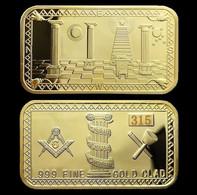 1 Lingot Plaqué OR ( GOLD Plated Bar ) - Franc-maçon Freemason Masonic - Other Coins