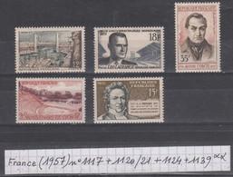 France(1957) Port De Brest N°1117+jeux Univ. Lagrange N°1120+Auguste Comte N°1121+ Lyon N°1124+Thénard N°1139   Neufs ** - Neufs