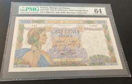 PMG64 Choice Uncirculated, Pick 95b, France, Banque De France 500 Francs 1941/1943 Banknote - 500 F 1940-1944 ''La Paix''