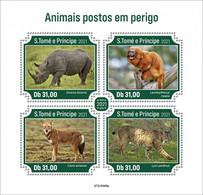 S. Tomè 2021, Animals In Danger, Rhino, Monkey, Linx, 4val In BF - Chimpanzees