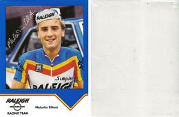 CARTE  CYCLISME MALCOLM ELLIOT TEAM RALEIGH 1984 ( VOIR PARTIE ARRIERE ) - Ciclismo