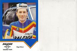 CARTE  CYCLISME NIGEL BLOOR TEAM RALEIGH 1984 ( VOIR PARTIE ARRIERE ) - Ciclismo