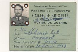 TUNISIE - Compagnie Des Tramways De Tunis - Carte De Priorité Pour Mutilé De Guerre - 1959 - Other