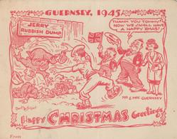 Guernsey 1945 WW2 Flag War Happy Christmas Comic Card - Ohne Zuordnung