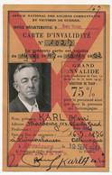 Carte D'Invalidité - Grand Invalide 75% (Réduction SNCF) - Strasbourg 1947 - Other