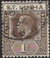 ST LUCIA 1912 King George V - 1d - Brown FU - Ste Lucie (...-1978)
