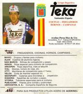 CARTE  CYCLISME AVELINO PEREA TEAM TEKA 1984 ( FORMAT 7,3 X 13, VOIR PARTIE ARRIERE ) - Ciclismo