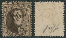 """Médaillon Dentelé - N°14 Obl Pt 66 (Lp 66) """"Burdinne"""". COBA : 30 Variété Griffe / Collection Spécialisée - 1863-1864 Medaillons (13/16)"""