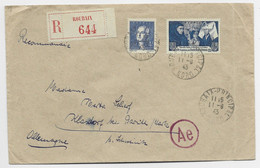 FRANCE 4FR BEAUNE +4FR LAVOISIER LETTRE REC ROUBAIX 11.9.1943 POUR BELGIQUE AU TARIF - 1921-1960: Moderne