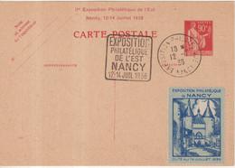 """FRANCE : ENTIER POSTAL . 90 Cts . TYPE PAIX  . CPC  . OBL . """" EXPO DE NANCY """" . 1939 . - Cartoline Postali E Su Commissione Privata TSC (ante 1995)"""