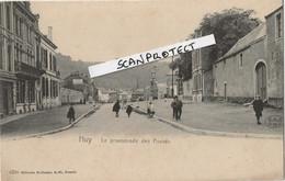 HUY-LA PROMENADE DES FOSSES-CAFE-PLAFONNEUR-CARTE PRECURSEUR ANIMEE-PAS ECRITE-WILHELM HOFFMAN-TRES RARE-2 SCANS ! ! ! - Huy