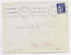 FRANCE N° 365  SEUL LETTRE  KRAG ANIC CIGARETTE FILTRE POITIERS GARE 17.V.38 VIENNE - Mechanical Postmarks (Advertisement)