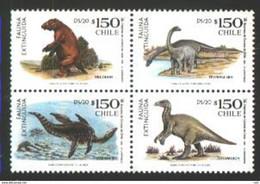 Chile Blok From 4 St. Dinosaurs - Prehistorics
