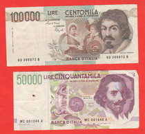 Italia 50000 Lire Bernini E 100000 Caravaggio Italian Banknotes - Autres - Europe