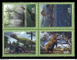 Brazil Block Of 4 St Dinosaurs - Prehistorics