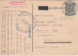 All.Bes./Kontrollrat - 12 Pfg. Ziffer Kriegsgefangenenkarte N. FRANKREICH 1946 - Zona AAS