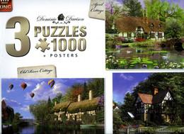 """3 Puzzles!  """"Cottages"""" 3x1000 Pièces!  68cm Sur 49 Cm Chacun Ed.King Puzzle Neuf Sous Cello - Non Classificati"""