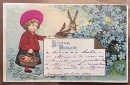 VINTAGE  POST CARD CON IMMAGINE IN RILIEVO - BUONA PASQUA CANESTRO DI UOVA CONIGLIETTI E TANTI FIORI  BOLOGNA 30/3/1904 - World