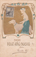 1906 NOUVEL AN, NEW YEAR, NUOVO ANNO. FILLE ET CHIEN. GAUFFREE, RARE CARTE POSTALE, CIRCULEE ARGENTINE.- LILHU - Anno Nuovo