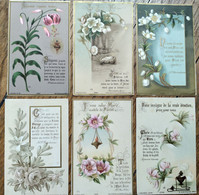 Lot De 6 Images Pieuses Religieuses - Fleurs Et Citations  - Ed. BOUASSE - Fin XIX ème- TBE - Andachtsbilder