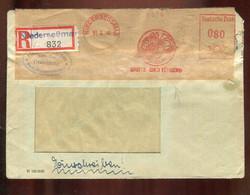 "All. Besetzung / 1948 / Reco-Brief (Not-R-Zettel) Ex Niedersessmar Freistempel ""BALDUS Damen-Mantel"" (3035) - Zona AAS"