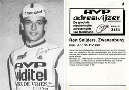 CARTE CYCLISME RON SNIJDERS SIGNEE TEAM AVP 1984 ( VOIR PARTIE ARRIERE ) - Ciclismo