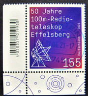 """Bund/BRD April 2021,  Sondermarke """"50 Jahre Radioteleskop Effelsberg"""" MiNr 3599, Eckrand, Gestempelt - Gebruikt"""