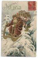 PERE NOEL - Joyeux Noël - Carte Gaufrée - Série 135 - Non Classés