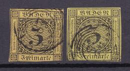 Baden - 1851/52 - Michel Nr. 2 A/b N5 Schönau/Mannheim - Gestempelt - 75 Euro - Baden