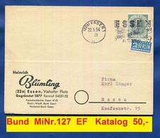 Bundespost MiNr. 127  Posthorn 8 Pf. EF  Ortspostkarte Essen 22.5.1954 Werbestempel Grugapark Erwartet Sie  Doppelkarte - Lettres & Documents