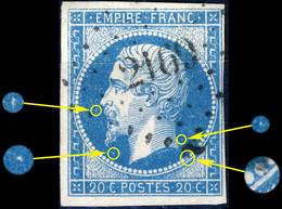 France - Yv.14A 20c Bleu Ciel T.1 Planché 139G1 - Obl. Pc 2169 (MORTAGNE-S-HUINE) - TB - 1853-1860 Napoléon III